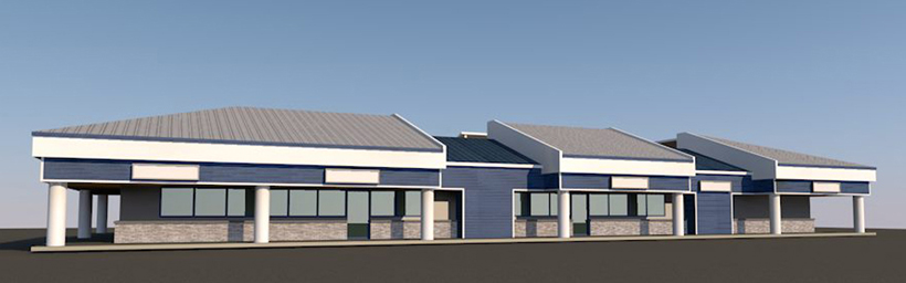 Beachport Center Facade Study CAD model, ENR architects, Oxnard, CA 93001