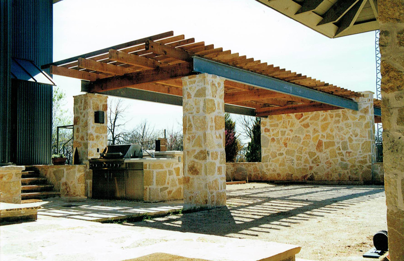 Ranch House, ENR architects with Frank D. Welch Associates, Montague County, TX 76255 - Parking Trellis N
