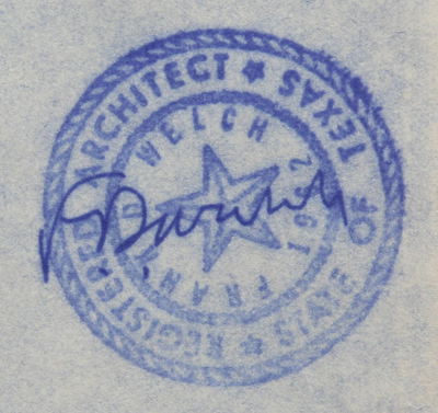 Frank D. Welch, Architect, Dallas, TX - Signed Stamp