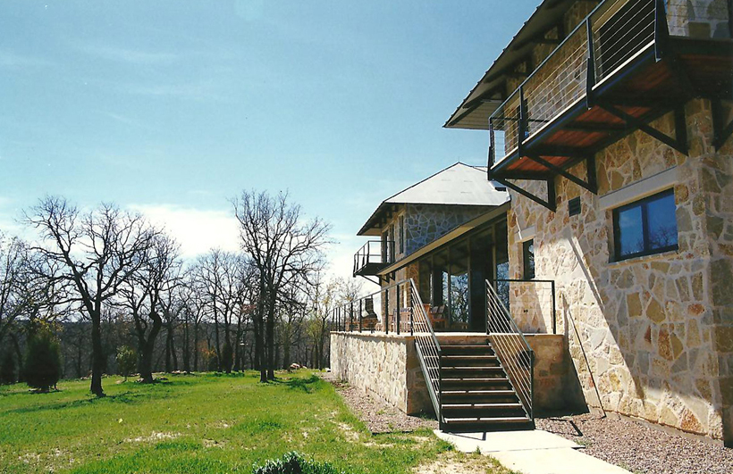 Ranch House, ENR architects with Frank D. Welch Associates, Montague County, TX 76255 - Elevation North East Terrace