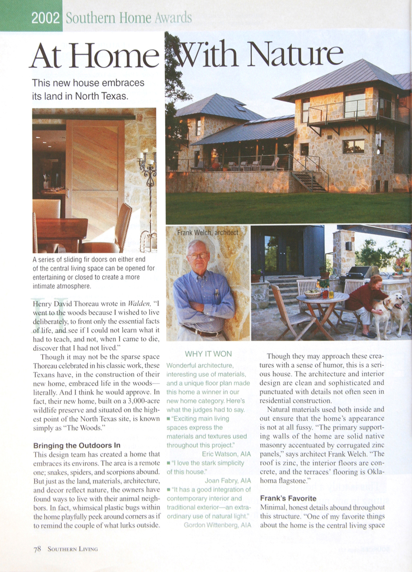 Frank D. Welch - Southern Home Awards - The South's Best Homes - Feb 2002 - p78