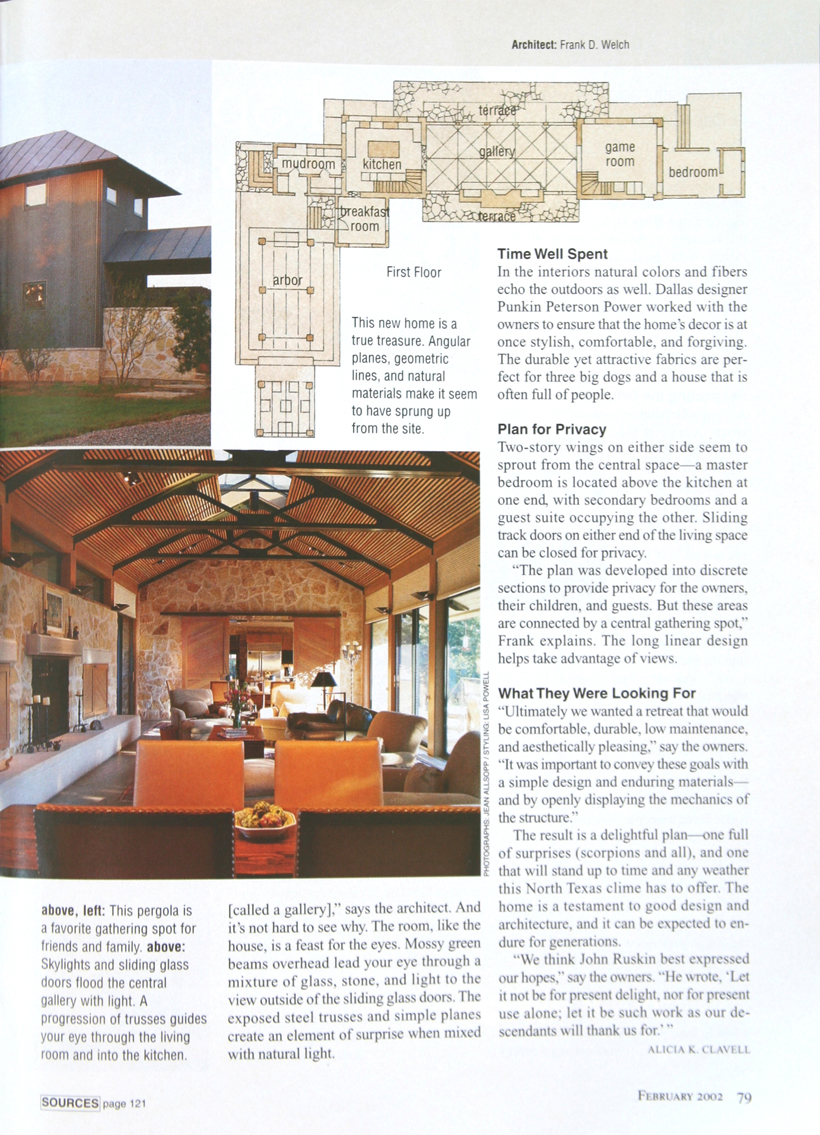 Frank D. Welch - Southern Home Awards - The South's Best Homes - Feb 2002 - p79