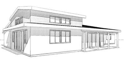 Game Room, Kitchen, Dining, Master Bath & Covered Porch, ENRarchitects, Thousand Oaks, CA - CAD Sketch Rendering