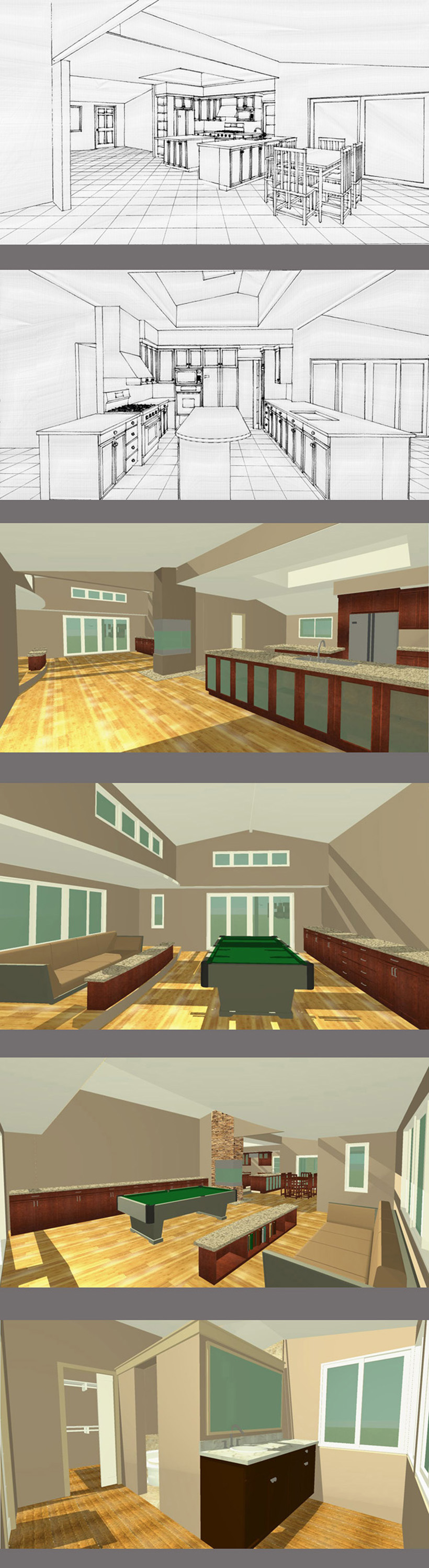 Game Room, Kitchen, Dining, Master Bath & Covered Porch, ENRarchitects, Thousand Oaks, CA - CAD Renderings