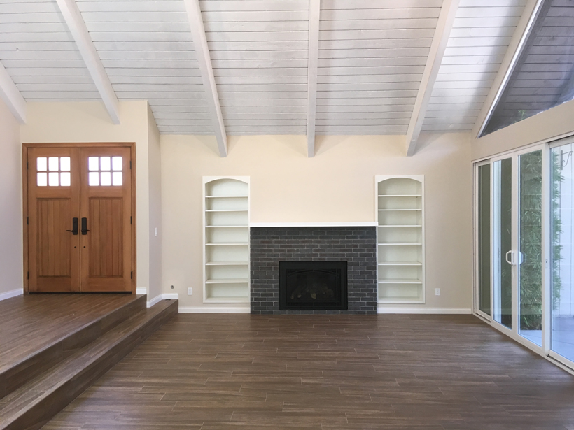 Living Room Entry Landing & Fireplace, 2-Story Wholehouse Remodel, Patio & Landscape, Westlake Village, CA